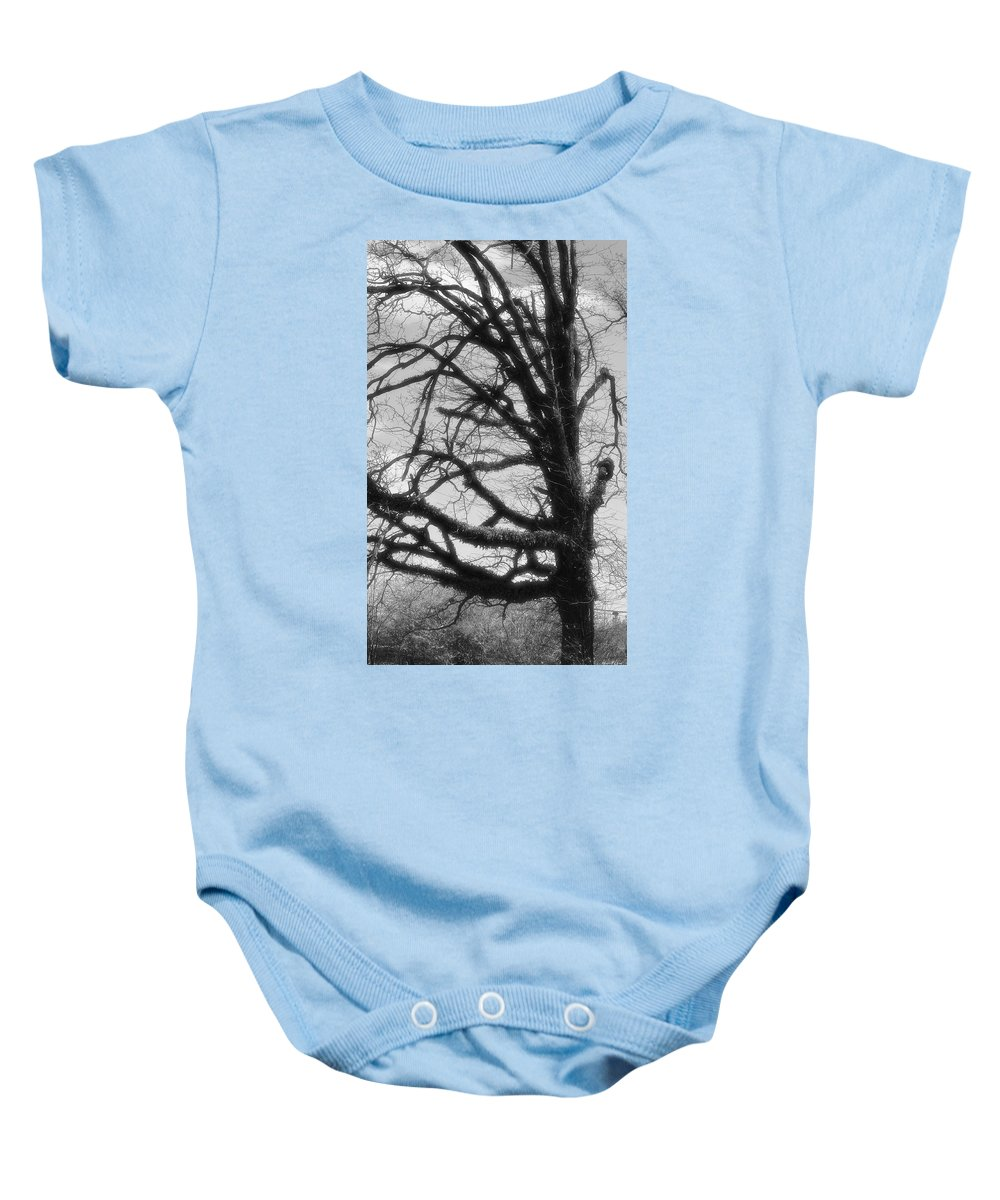 Gothic Oak Baby Onesie featuring the photograph Gothic Oak by Maria Urso