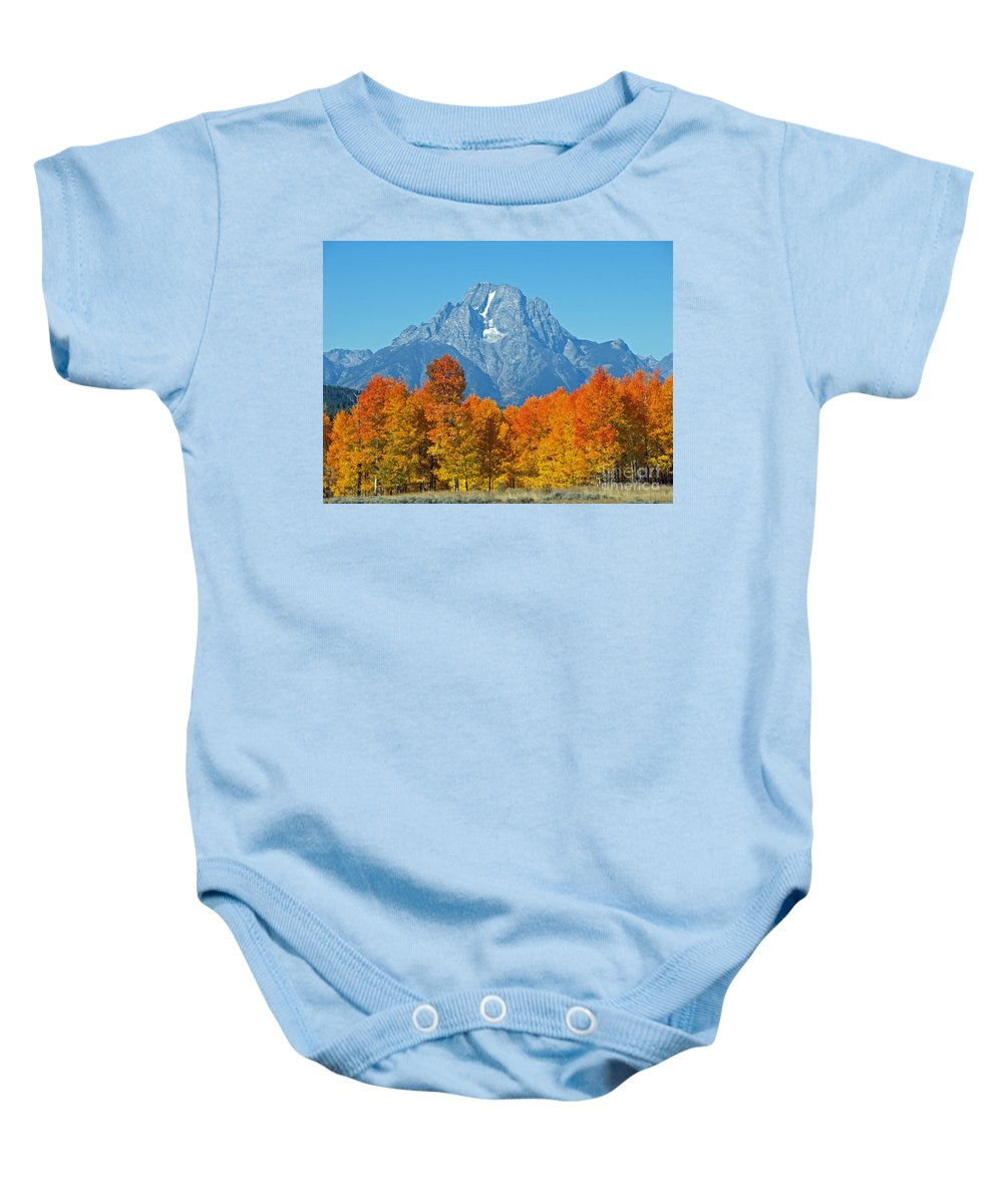 Mountain Baby Onesie featuring the photograph Grand Teton National Park 2 by Jacklyn Duryea Fraizer