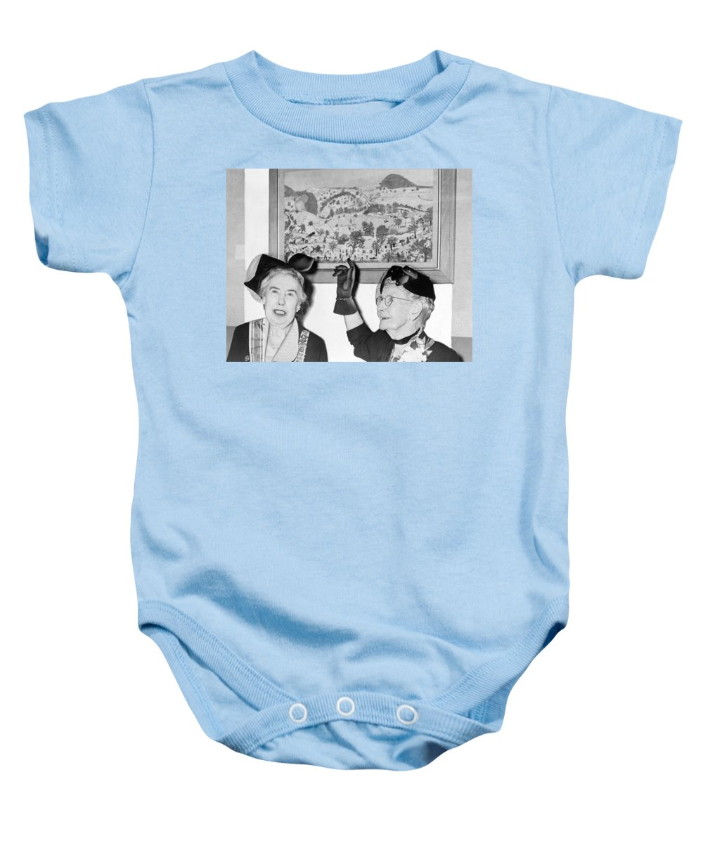 1953 Baby Onesie featuring the photograph Grandma Moses by Roger Higgins