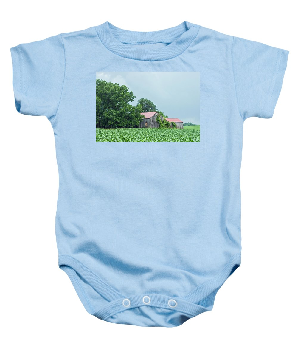 Red Baby Onesie featuring the photograph Gray Sky - Red Roofed Barn - Green Fields by Photographic Arts And Design Studio