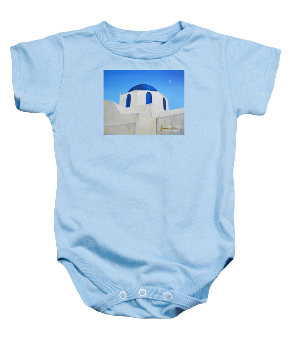 Greece Baby Onesie featuring the painting Greek Island Church by Jerome Stumphauzer