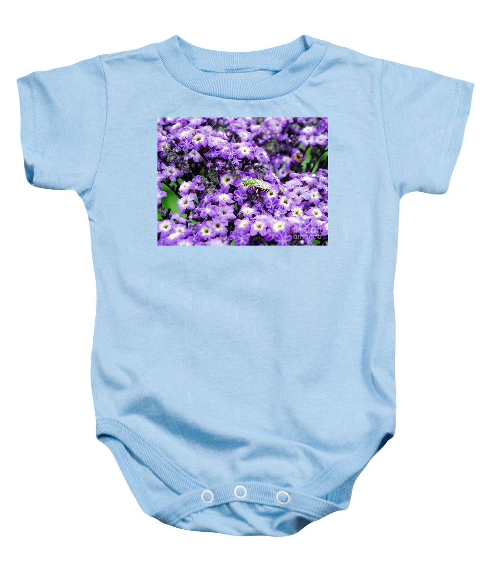 Green Bee Baby Onesie featuring the photograph Green Bee Tiny Pollinator by Renee Croushore