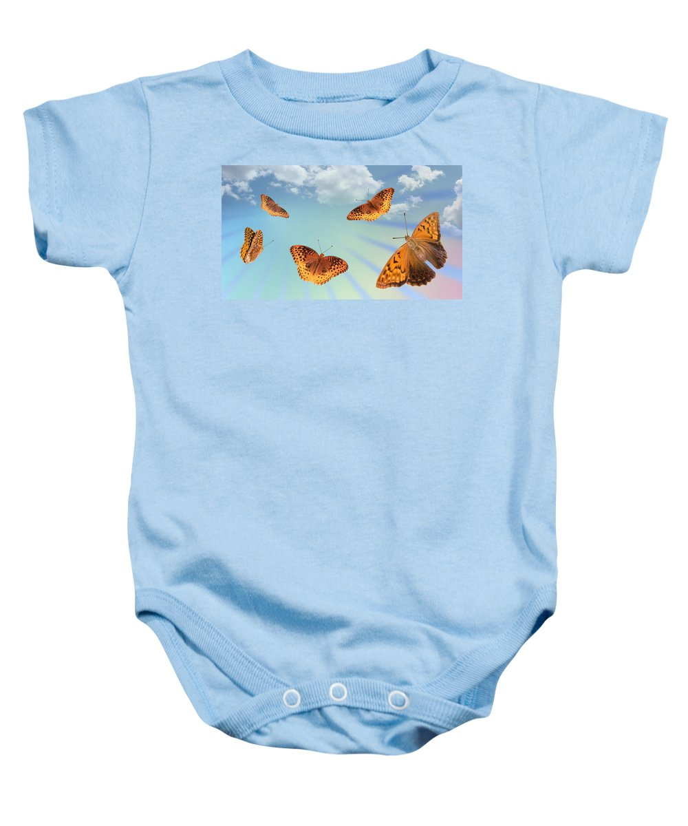 Flying Baby Onesie featuring the photograph Group Of Butterflies And Sky by Melinda Fawver