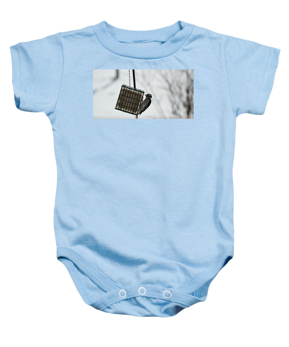Hairy Woodpecker Baby Onesie featuring the photograph Hairy Woodpecker by Linda Kerkau