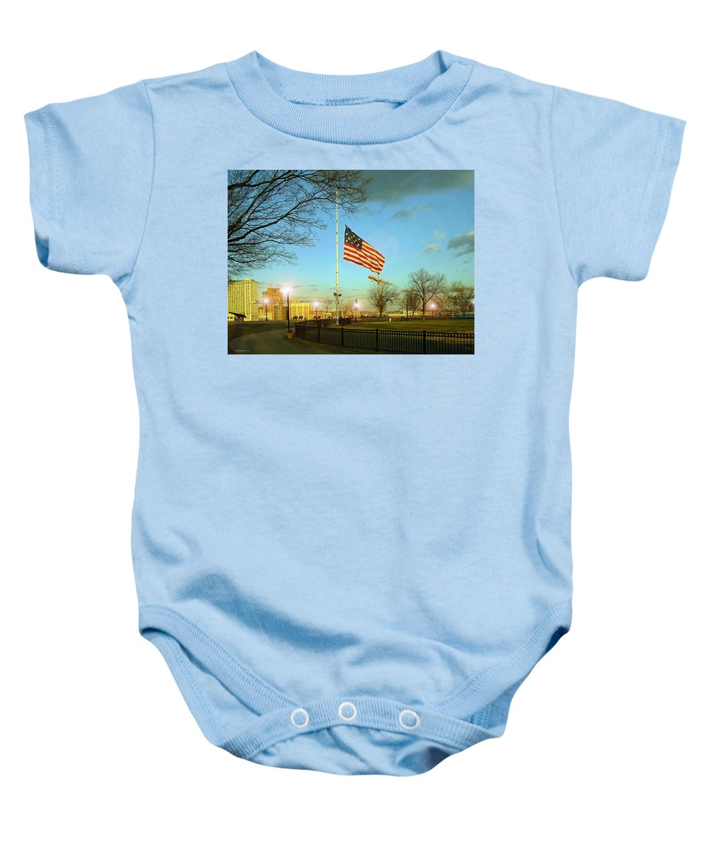 2d Baby Onesie featuring the photograph Half Mast by Brian Wallace