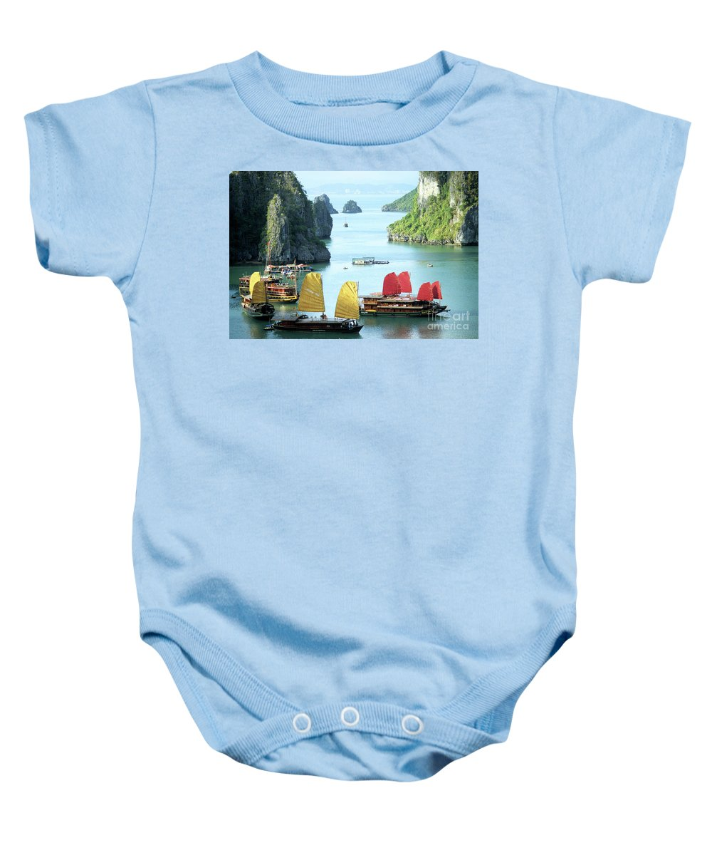 Vietnam Baby Onesie featuring the photograph Halong Bay Sails 01 by Rick Piper Photography