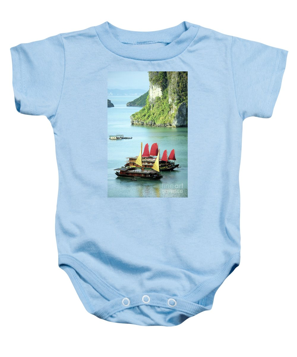 Vietnam Baby Onesie featuring the photograph Halong Bay Sails 02 by Rick Piper Photography