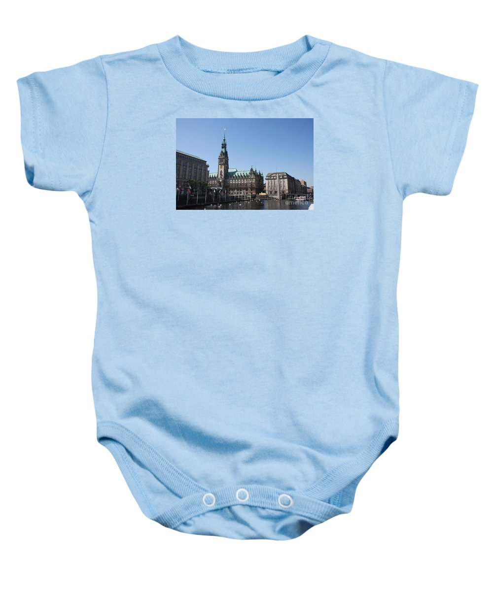 Hamburg Baby Onesie featuring the photograph Hamburg - City Hall With Fleet - Germany by Christiane Schulze Art And Photography