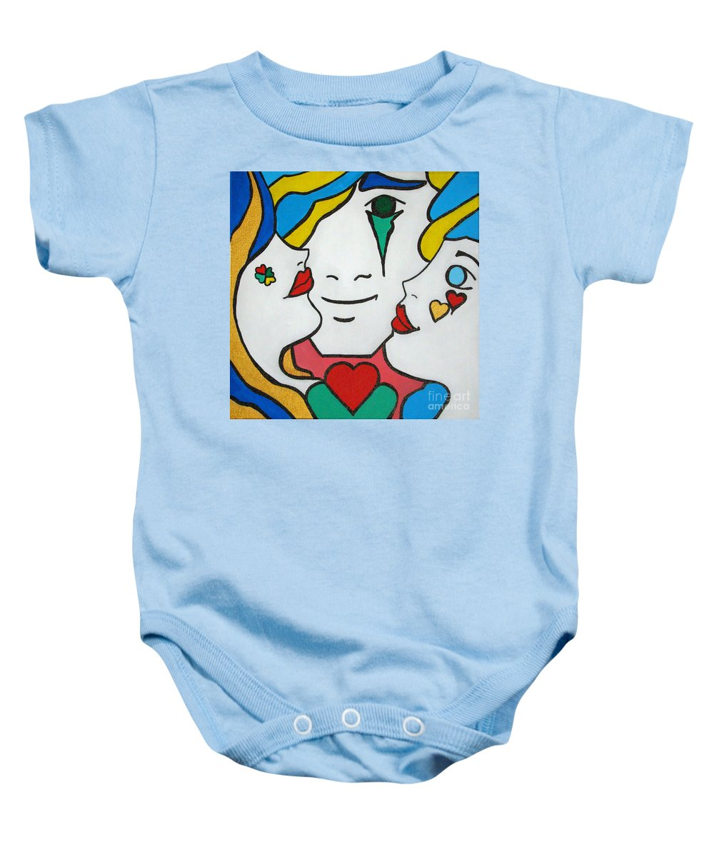 Pop-art Baby Onesie featuring the painting Happy Days by Silvana Abel