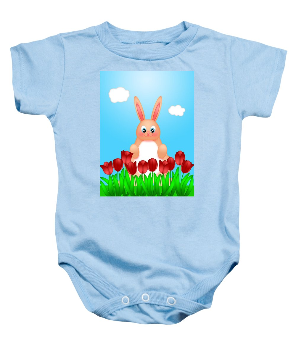 Happy Baby Onesie featuring the digital art Happy Easter Bunny Rabbit On Field Of Tulips Flowers by Jit Lim