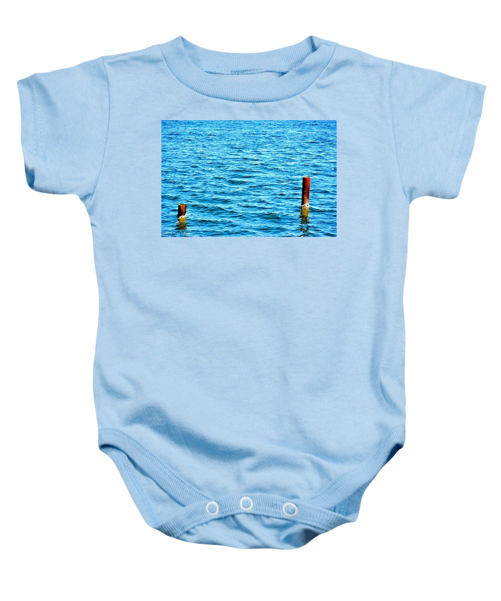 Harbor Markers Baby Onesie featuring the photograph Harbor Markers by Tara Potts
