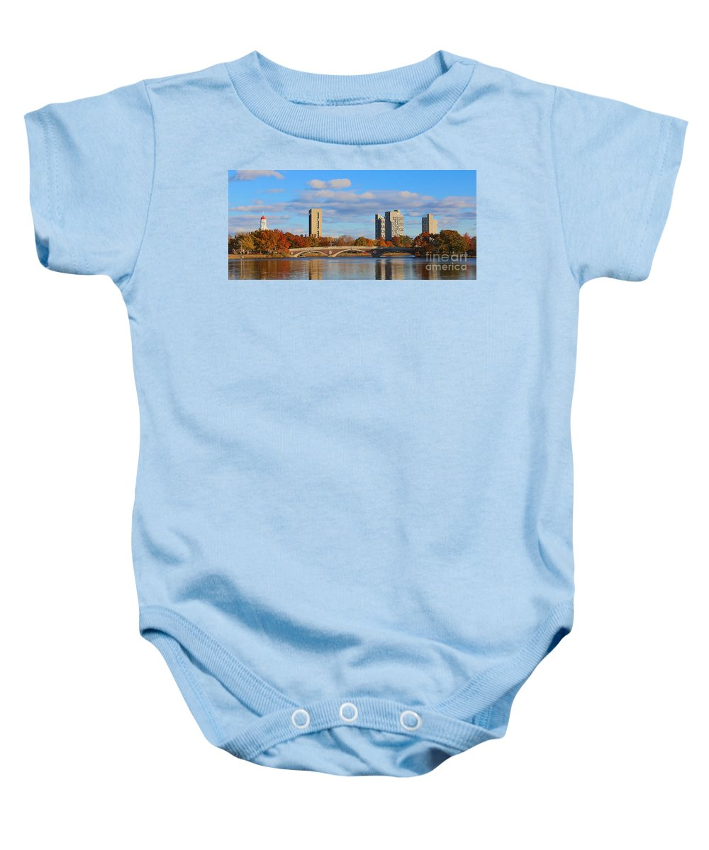 Andrew Canzanelli Baby Onesie featuring the photograph Harvard Towers Over The Charles by Jannis Werner
