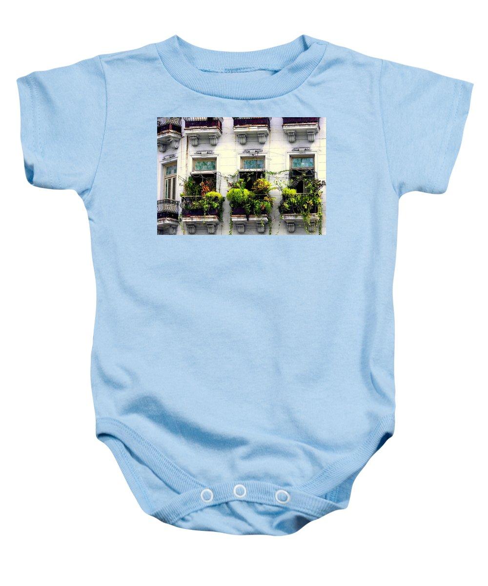 Cuban Architecture Baby Onesie featuring the photograph Havana Windows by Karen Wiles
