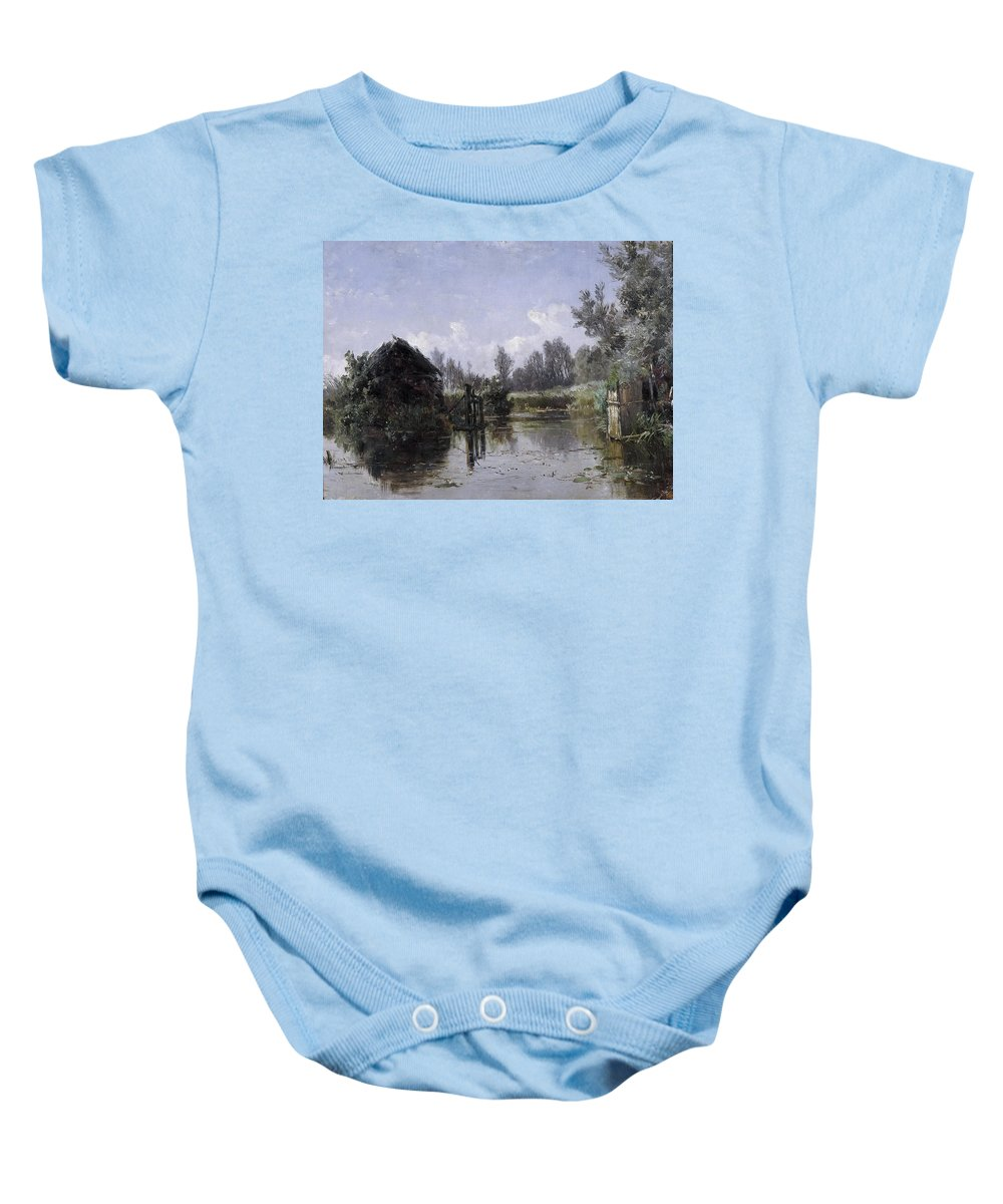 Carlos De Haes Baby Onesie featuring the painting The Lake In Friesland by Carlos de Haes