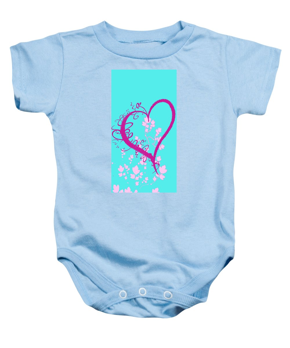 Hearts Baby Onesie featuring the digital art Hearts And Vines by Paulette B Wright