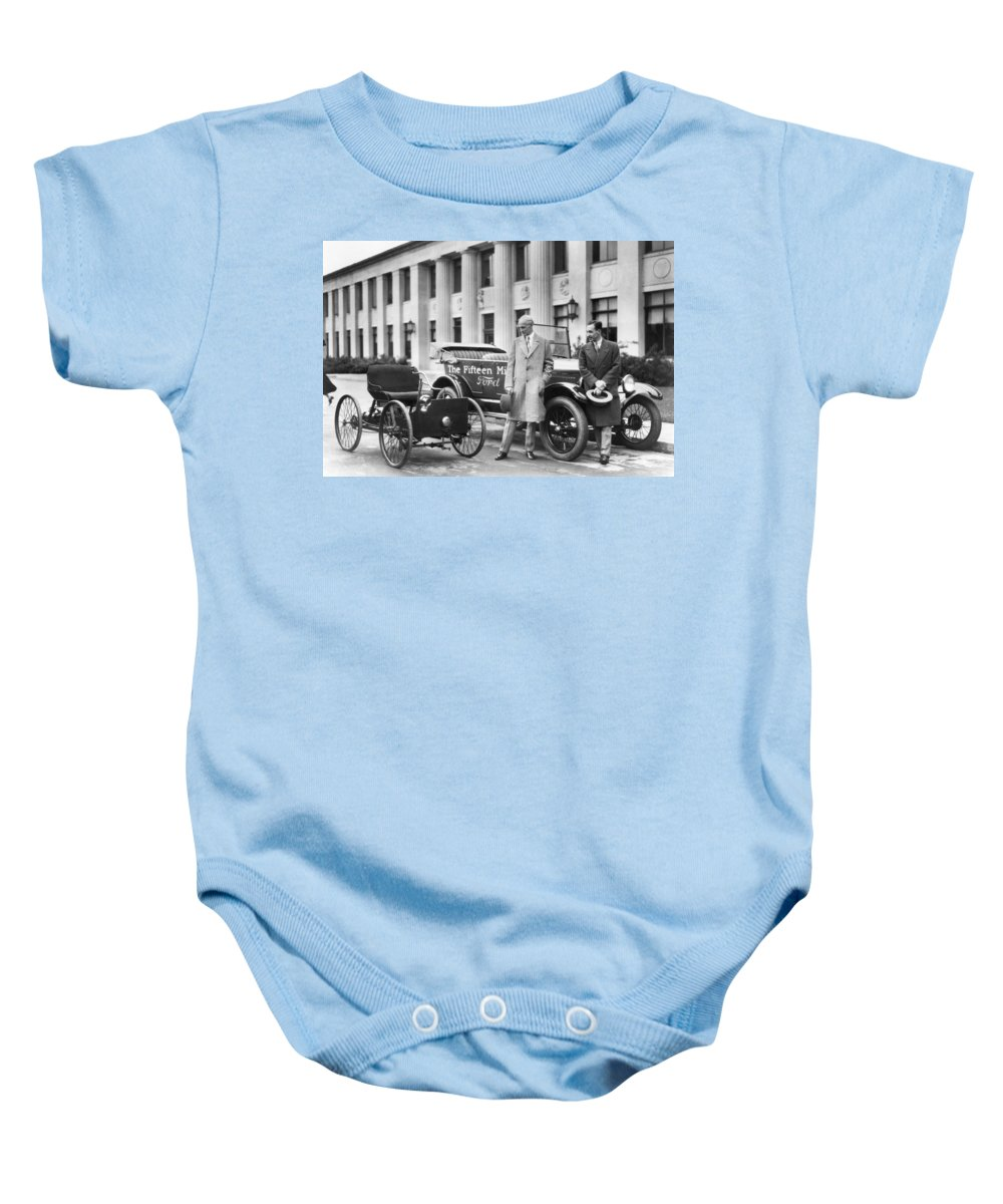1896 Quadricycle Baby Onesie featuring the photograph Henry And Edsel Ford by Underwood Archives