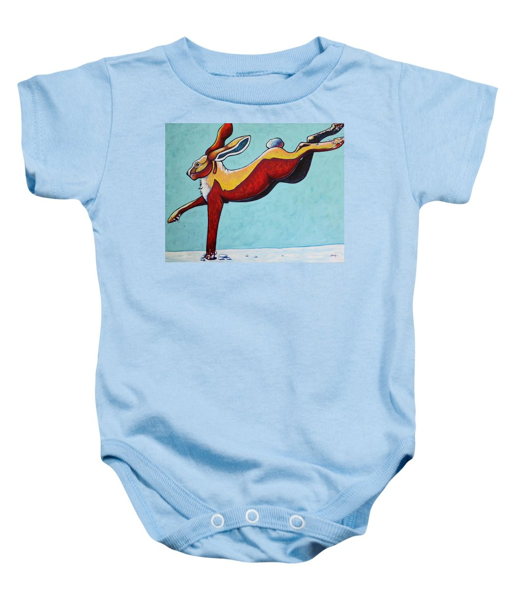 Wildlife Baby Onesie featuring the painting High Tailing It - Jackrabbit by Joe Triano