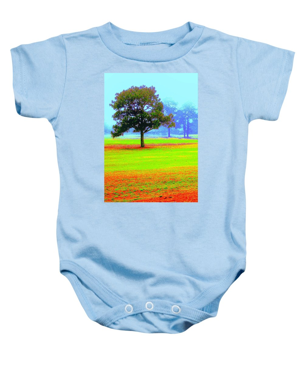 Tree Baby Onesie featuring the photograph Hippie In The Tree by Faith Williams