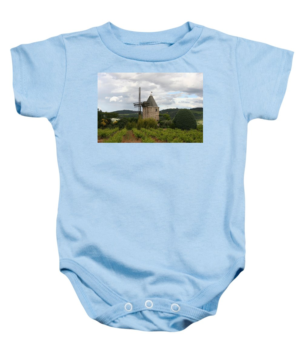Mill Baby Onesie featuring the photograph Historic Windmill by Christiane Schulze Art And Photography