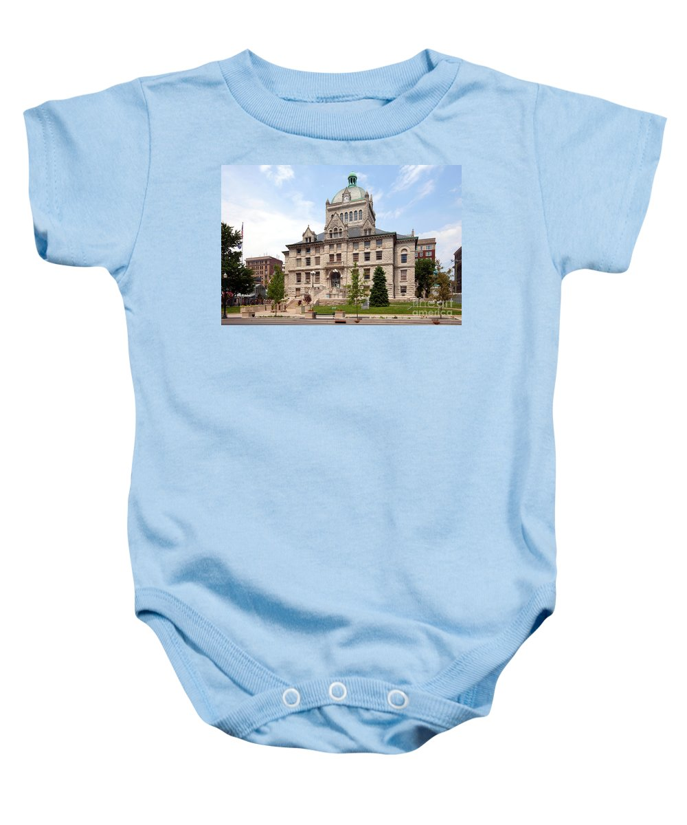 Kentucky Baby Onesie featuring the photograph History Center Lexington Kentucky by Bill Cobb