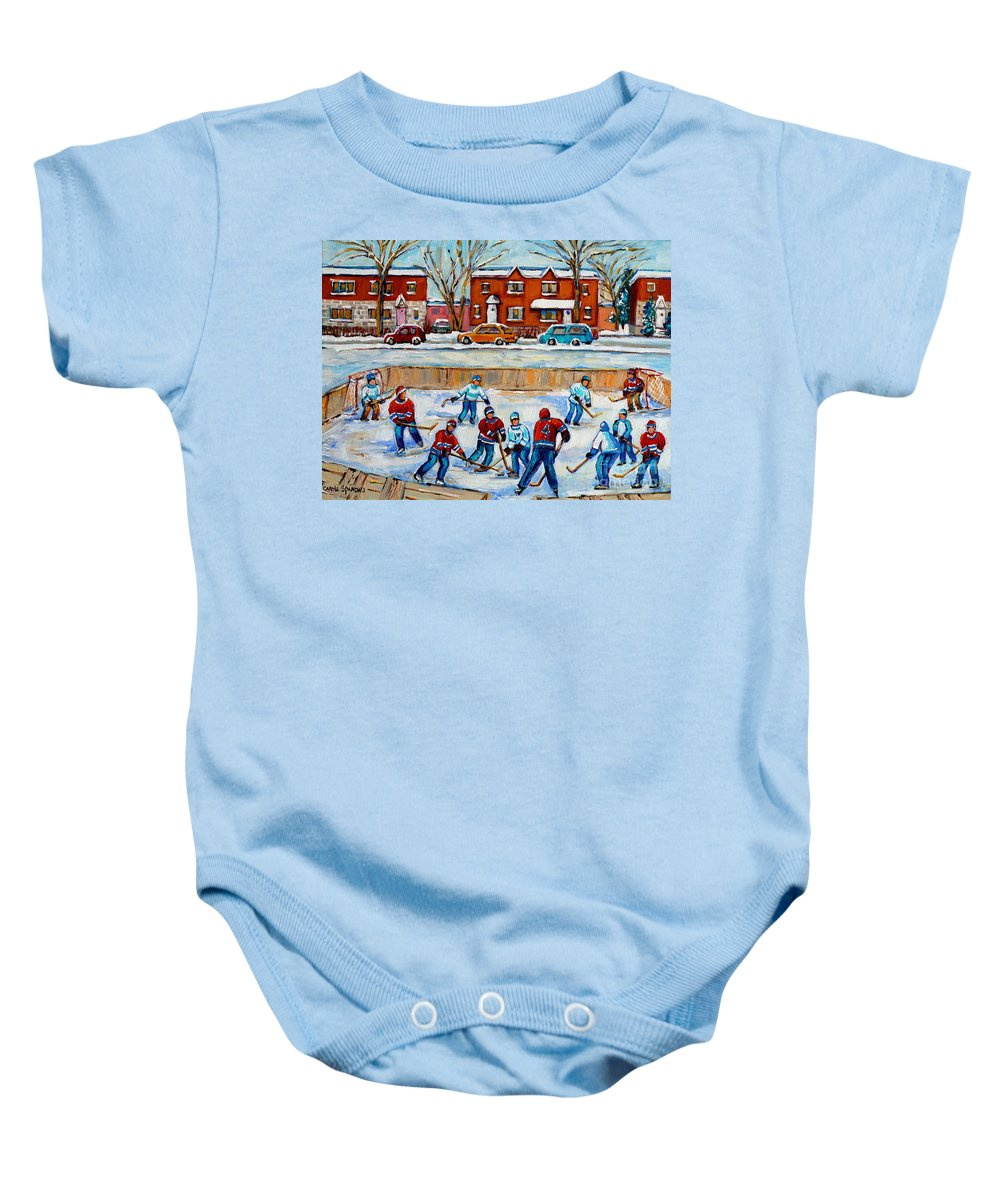 Hockey At Van Horne Montreal Baby Onesie featuring the painting Hockey Rink At Van Horne Montreal by Carole Spandau