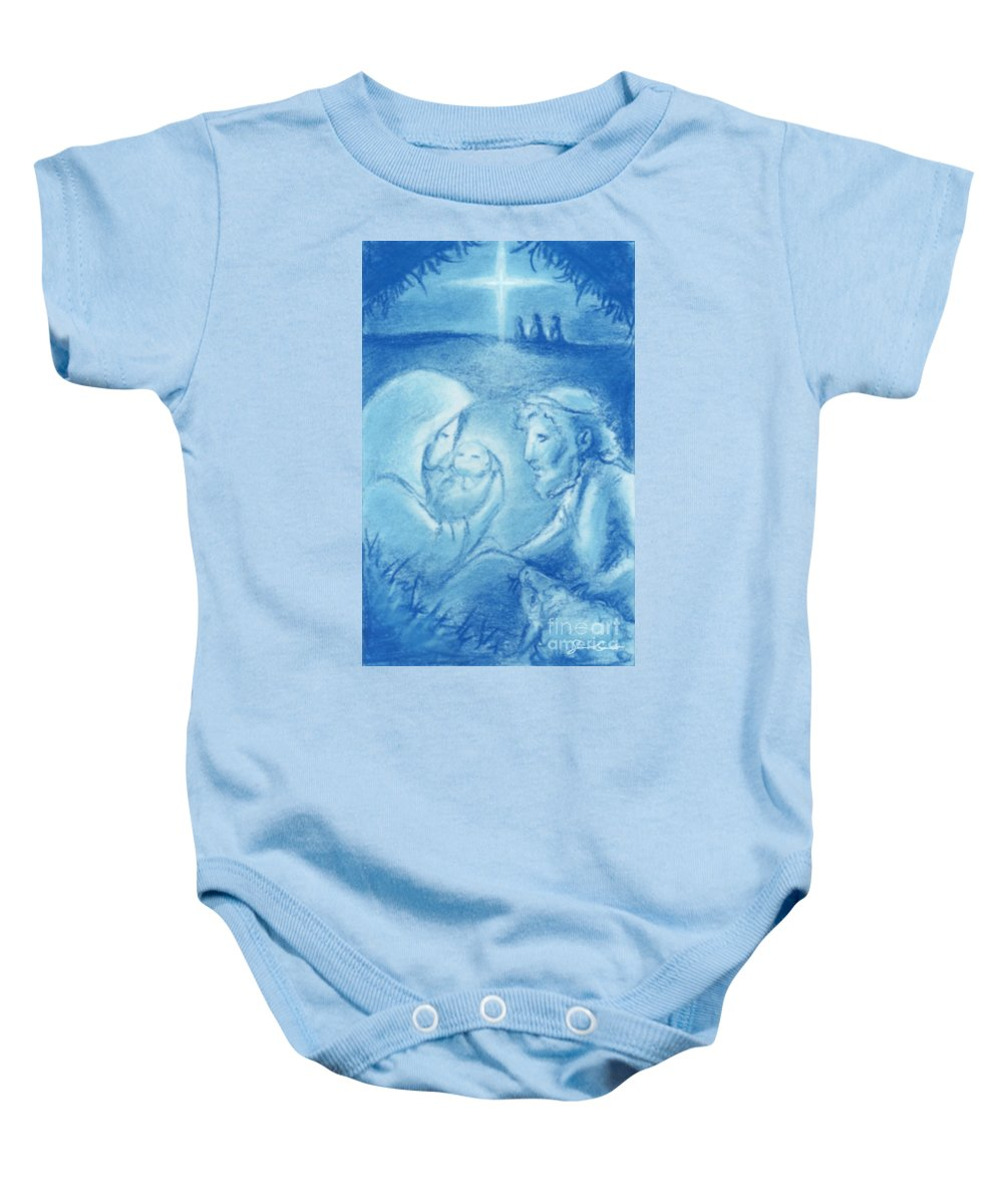Star Baby Onesie featuring the painting Holy Night by Samantha Geernaert