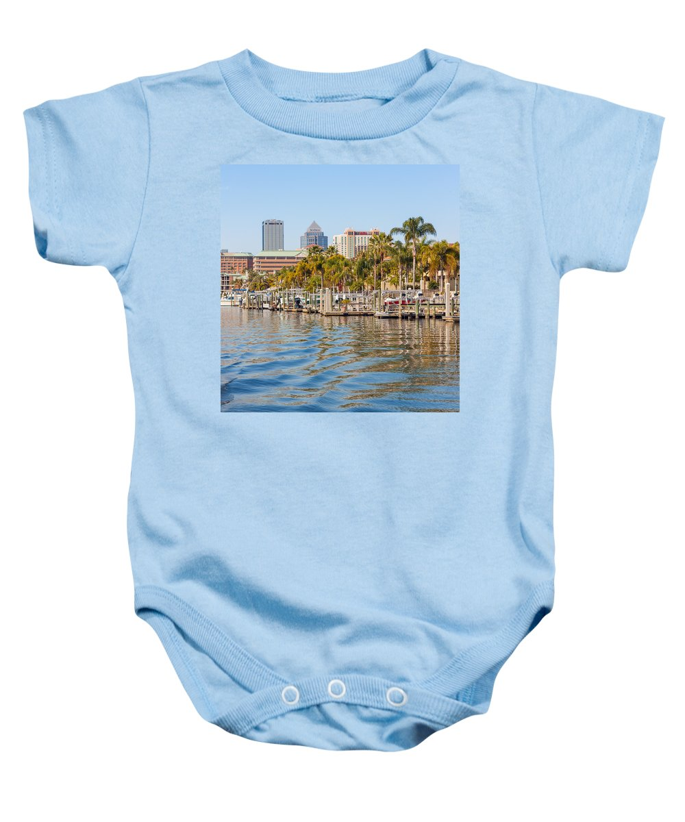 Outdoor Baby Onesie featuring the photograph Home And Water And City by John M Bailey