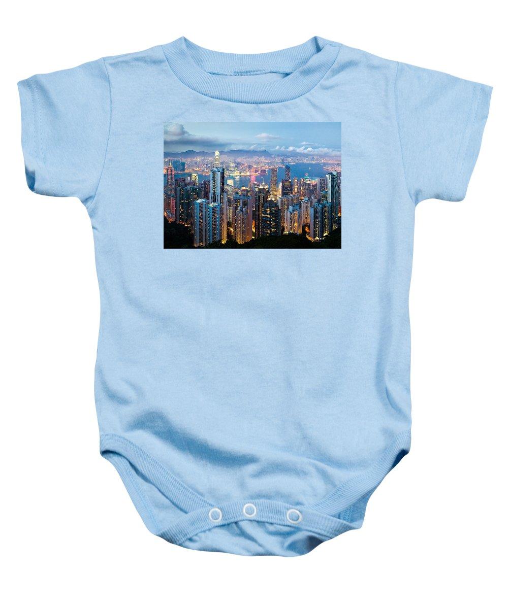 Hong Kong Baby Onesie featuring the photograph Hong Kong At Dusk by Dave Bowman
