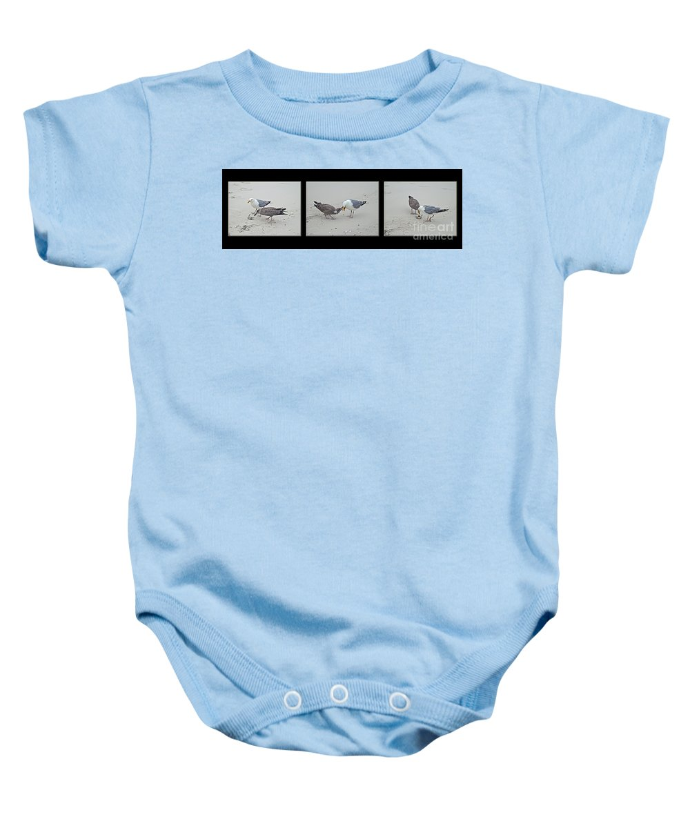 Gull Baby Onesie featuring the photograph How To Eat A Blue Crab - Great Black Backed Gull In Training by Mother Nature