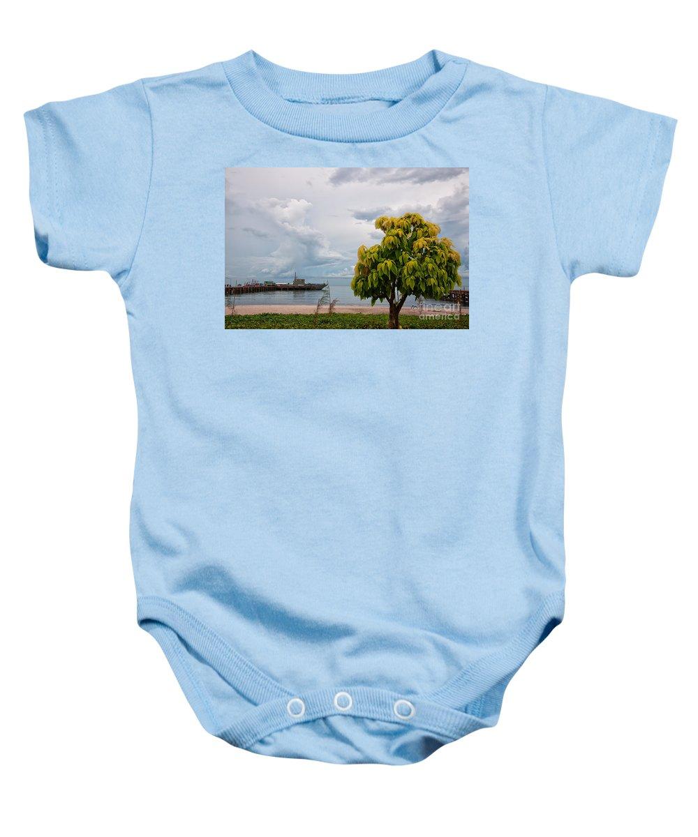 Hua Baby Onesie featuring the photograph Hua Hin Harbour by Antony McAulay