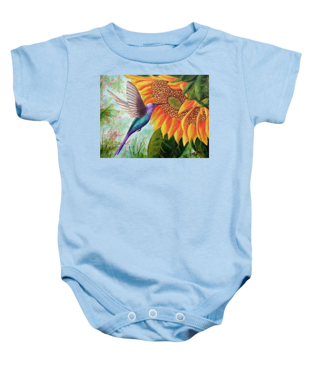 Hummingbird Baby Onesie featuring the painting Humming For Nectar by David G Paul