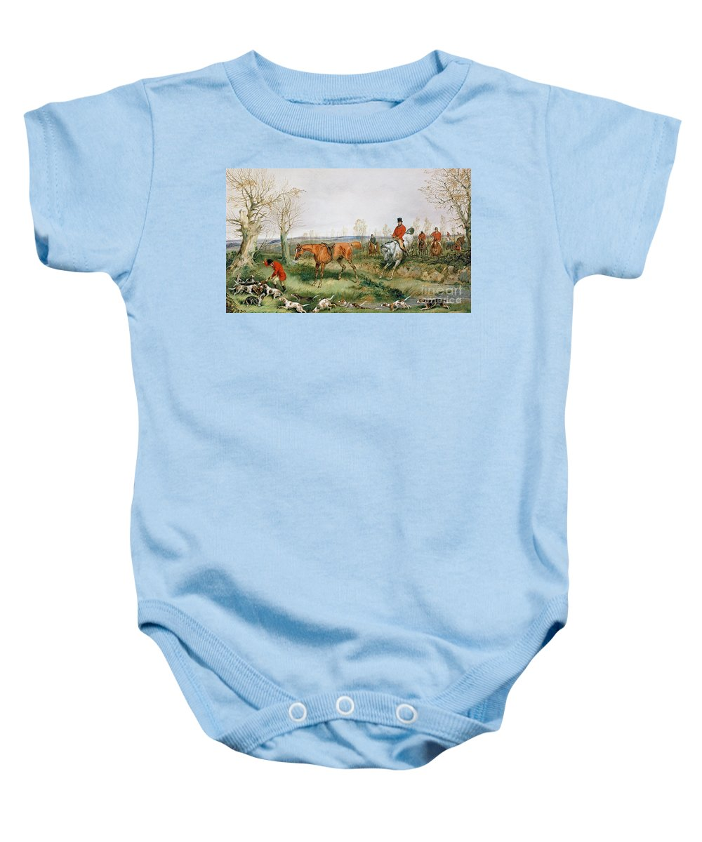 Hound; Fox; Hunt; Horse; Hunters Baby Onesie featuring the painting Hunting Scene by Henry Thomas Alken