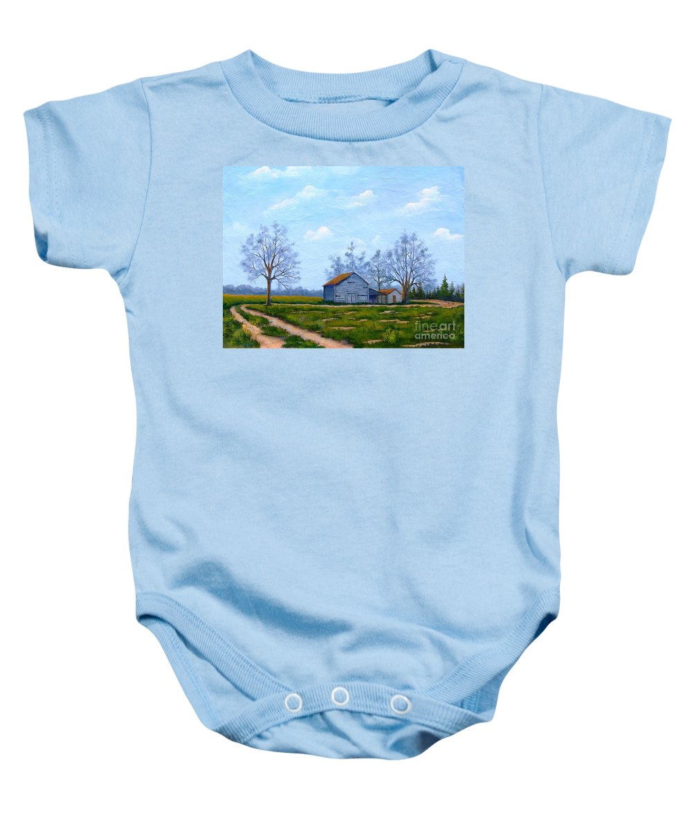 Farm Baby Onesie featuring the painting Hwy 302 Farm by Jerry Walker