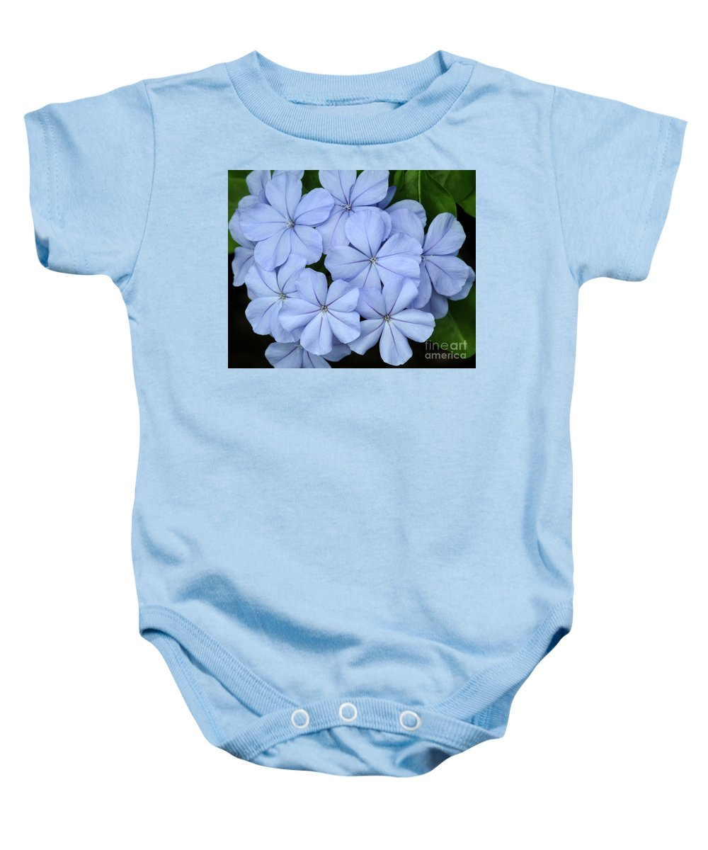 Macro Baby Onesie featuring the photograph I Love Blue Flowers by Sabrina L Ryan