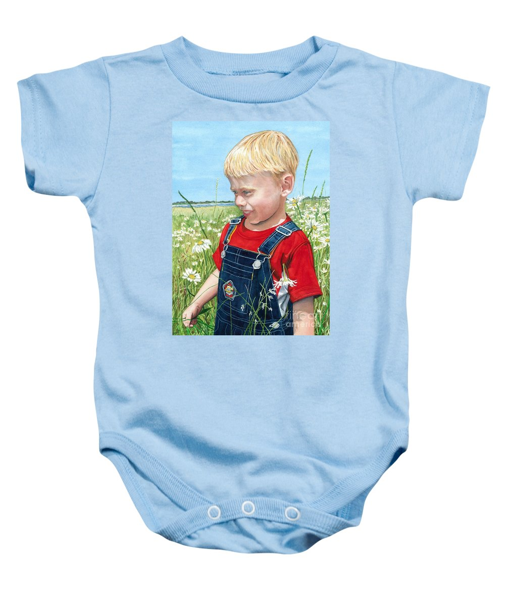 Child Baby Onesie featuring the painting Ian's Field Of Dreams by Barbara Jewell