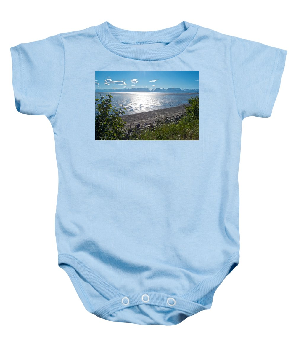Icy-looking Kachemak Bay In Sunlight From Homer Spit Baby Onesie featuring the photograph Icy-looking Kachemak Bay In Sunlight From Homer Spit-ak by Ruth Hager