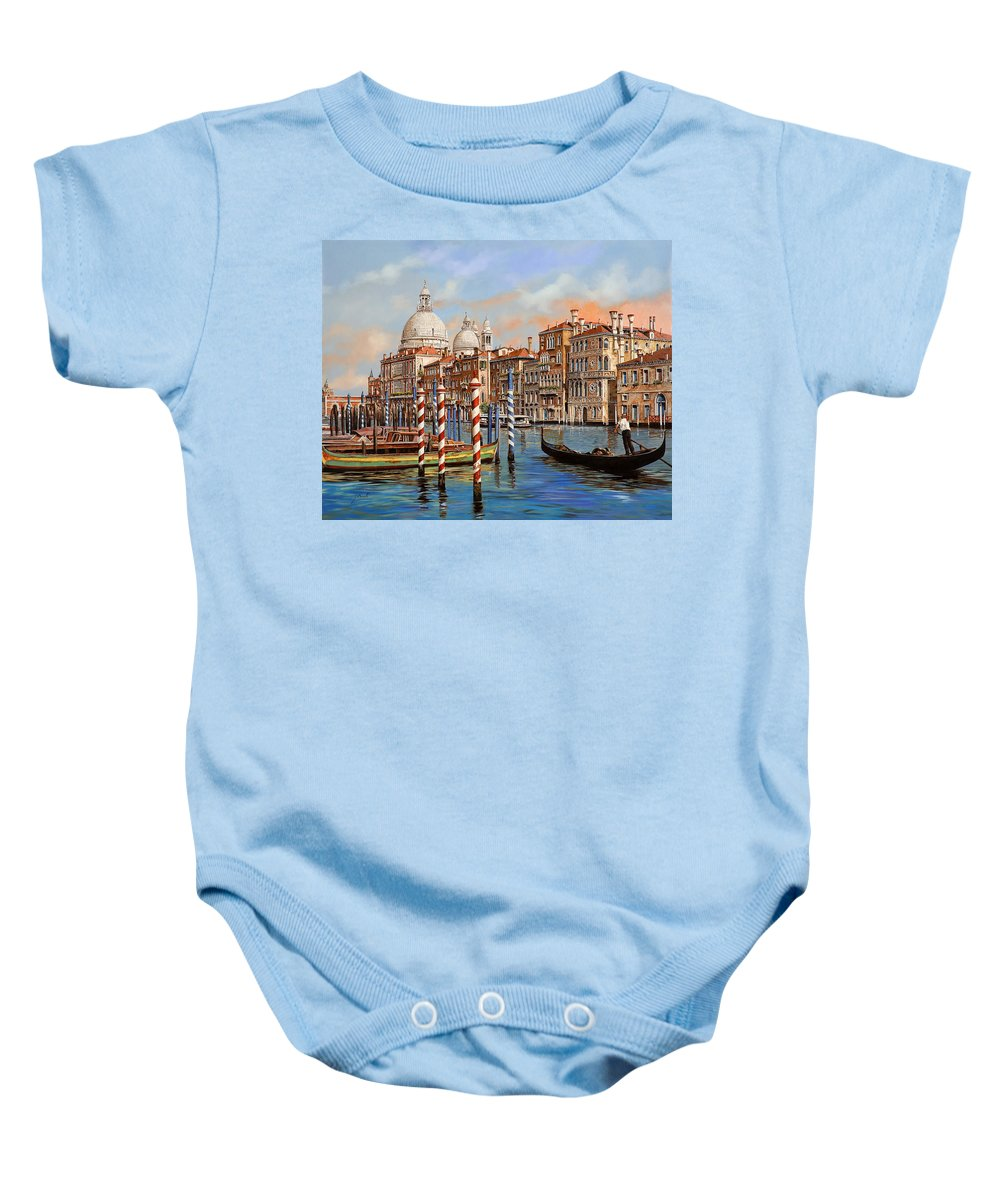 Venice Baby Onesie featuring the painting Il Canal Grande by Guido Borelli