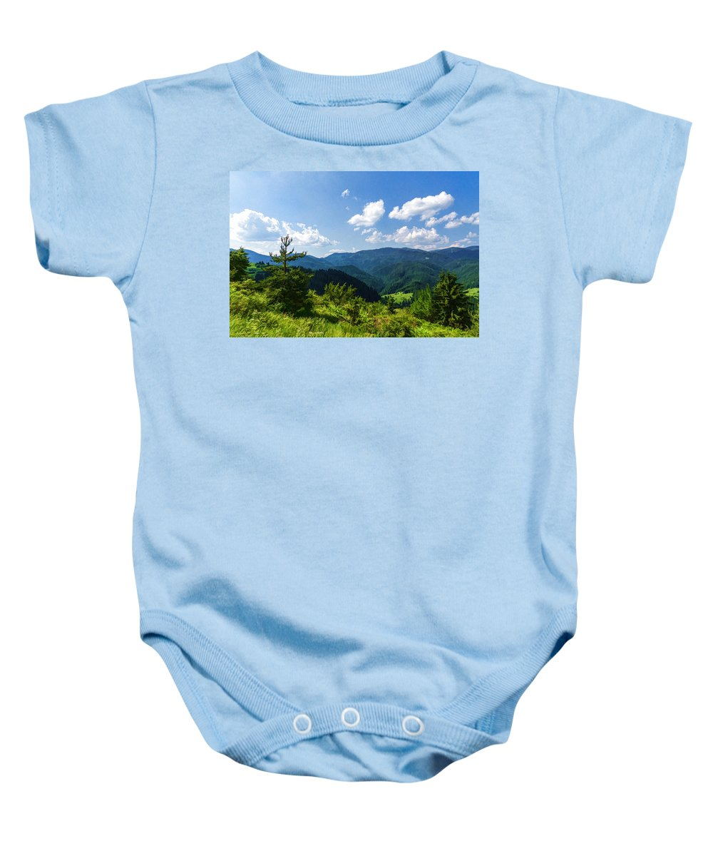Georgia Mizuleva Baby Onesie featuring the digital art Impressions Of Mountains And Forests And Trees by Georgia Mizuleva