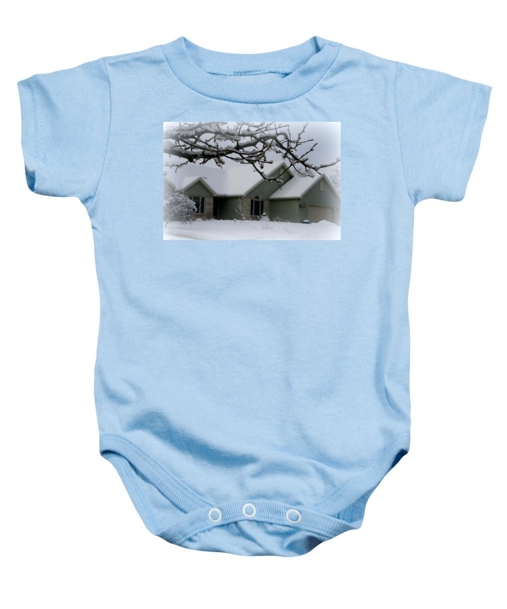 Home Baby Onesie featuring the photograph In The Midwest by Kay Novy