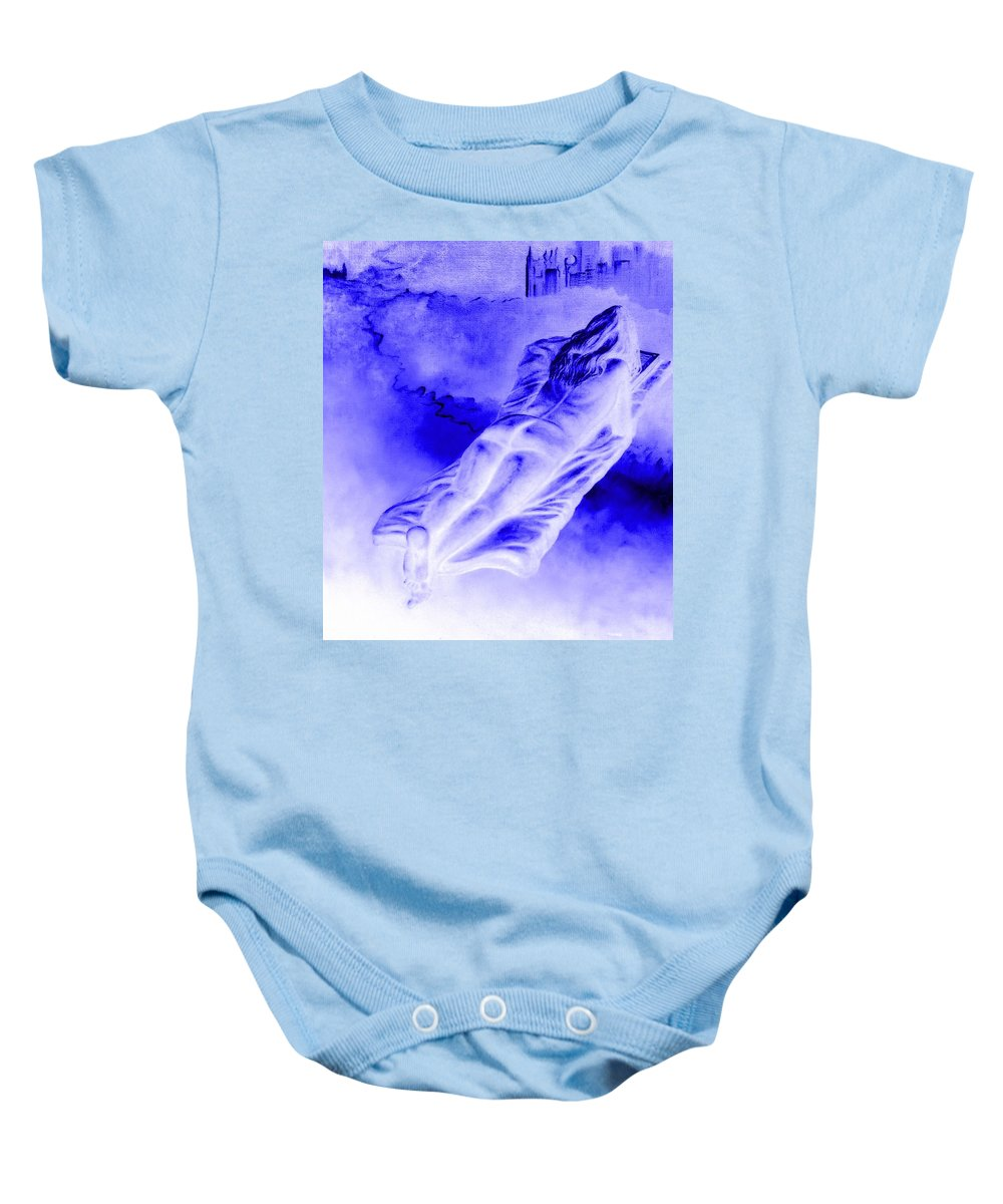 Genio Baby Onesie featuring the mixed media In The Peace Of Books by Genio GgXpress