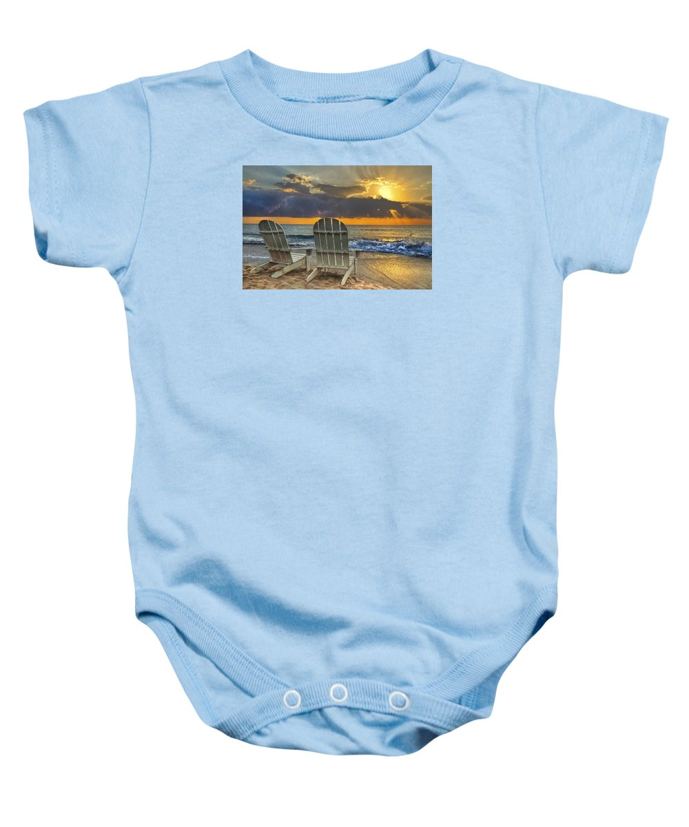 Zen Baby Onesie featuring the photograph In The Spotlight by Debra and Dave Vanderlaan