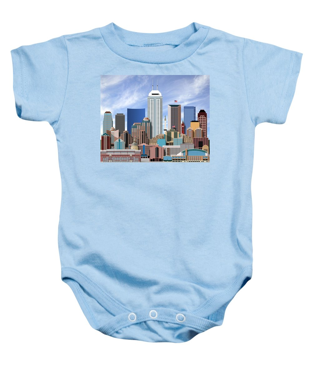 Indianapolis Baby Onesie featuring the digital art Indianapolis Indiana Skyline by Dave Lee