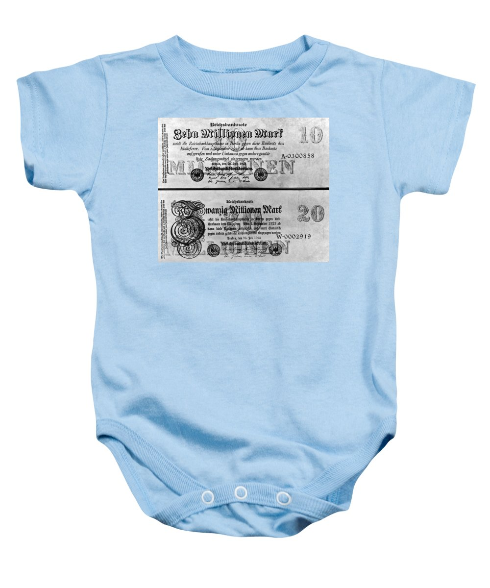10 Million Baby Onesie featuring the photograph Inflated German Mark Bills by Underwood Archives