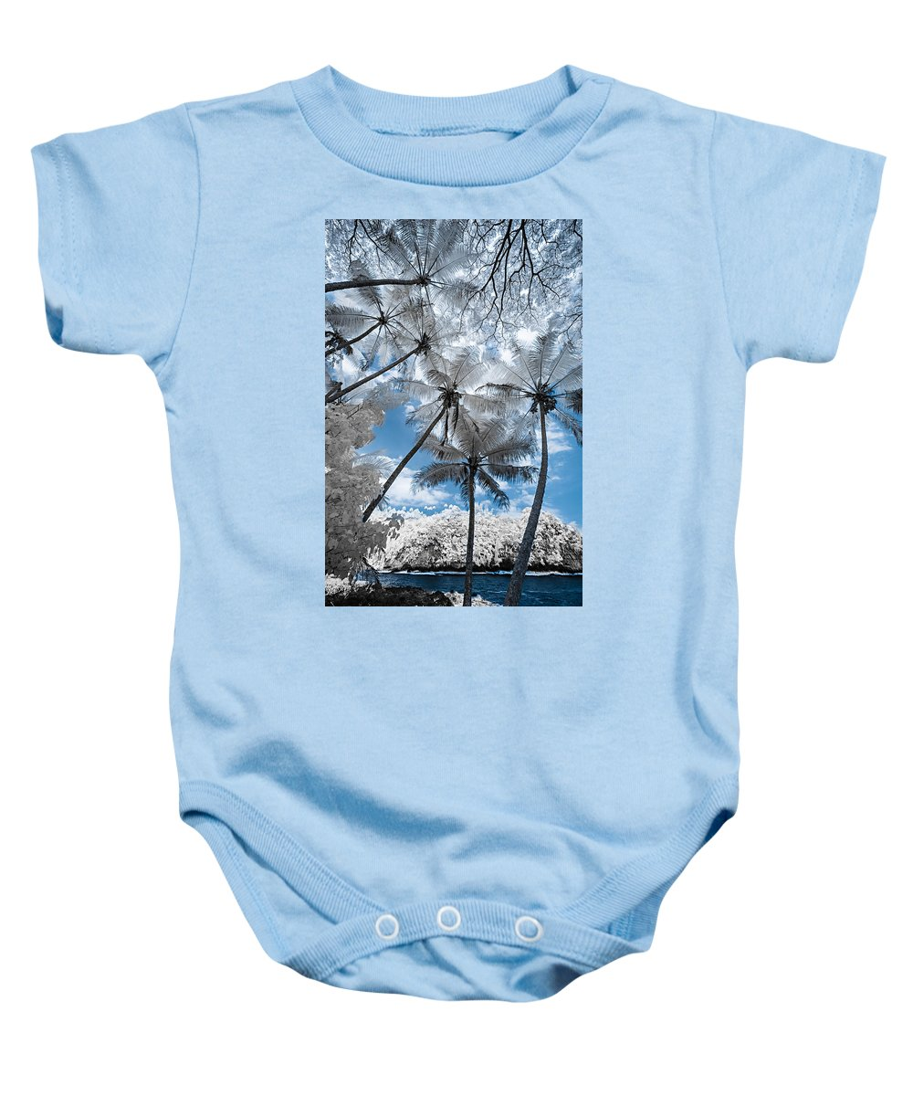 720 Nm Baby Onesie featuring the photograph Infrared Palm Trees On The Coast by Jason Chu