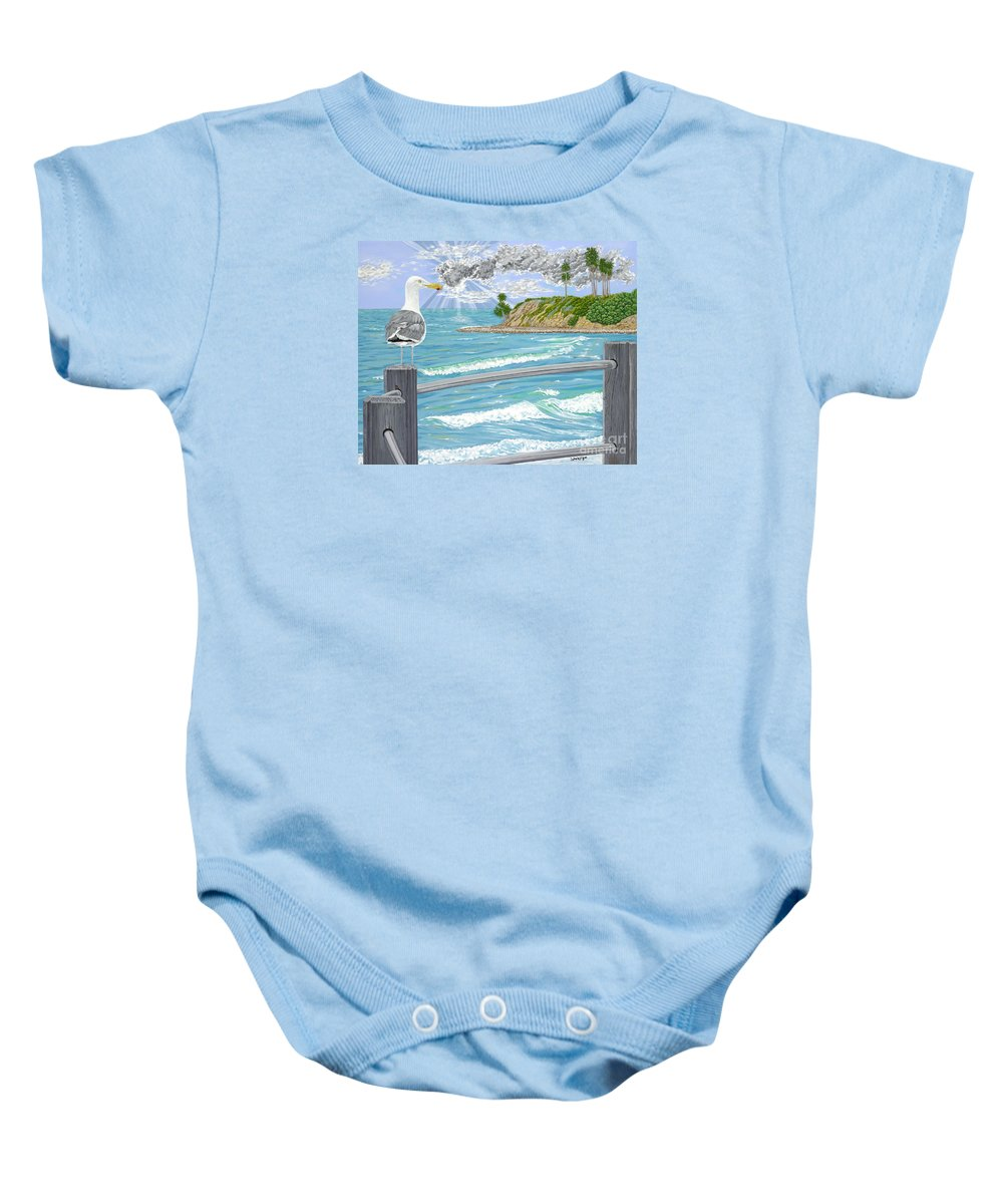 Sea Gull Baby Onesie featuring the painting Intensity by John Wilson