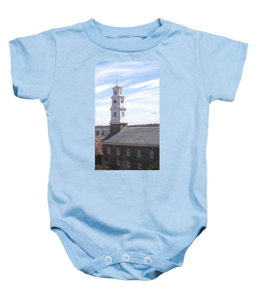 Architecture Baby Onesie featuring the photograph Into The Blue by Pharris Art