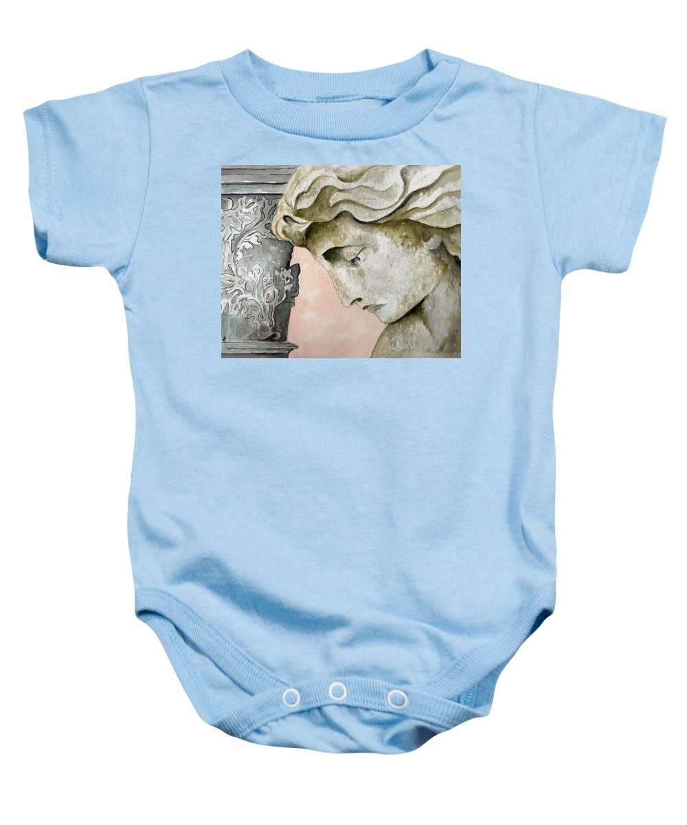 Watercolor Baby Onesie featuring the painting Introspective by Brenda Owen