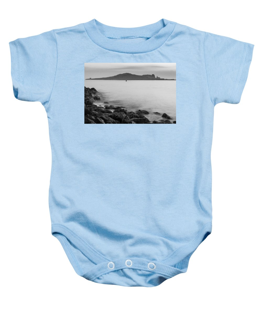 Black Baby Onesie featuring the photograph Ireland's Eye In Black And White by Semmick Photo