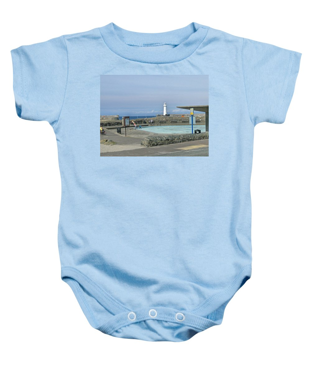 Irish Baby Onesie featuring the photograph Irish Sea Lighthouse On Pier by Brenda Brown