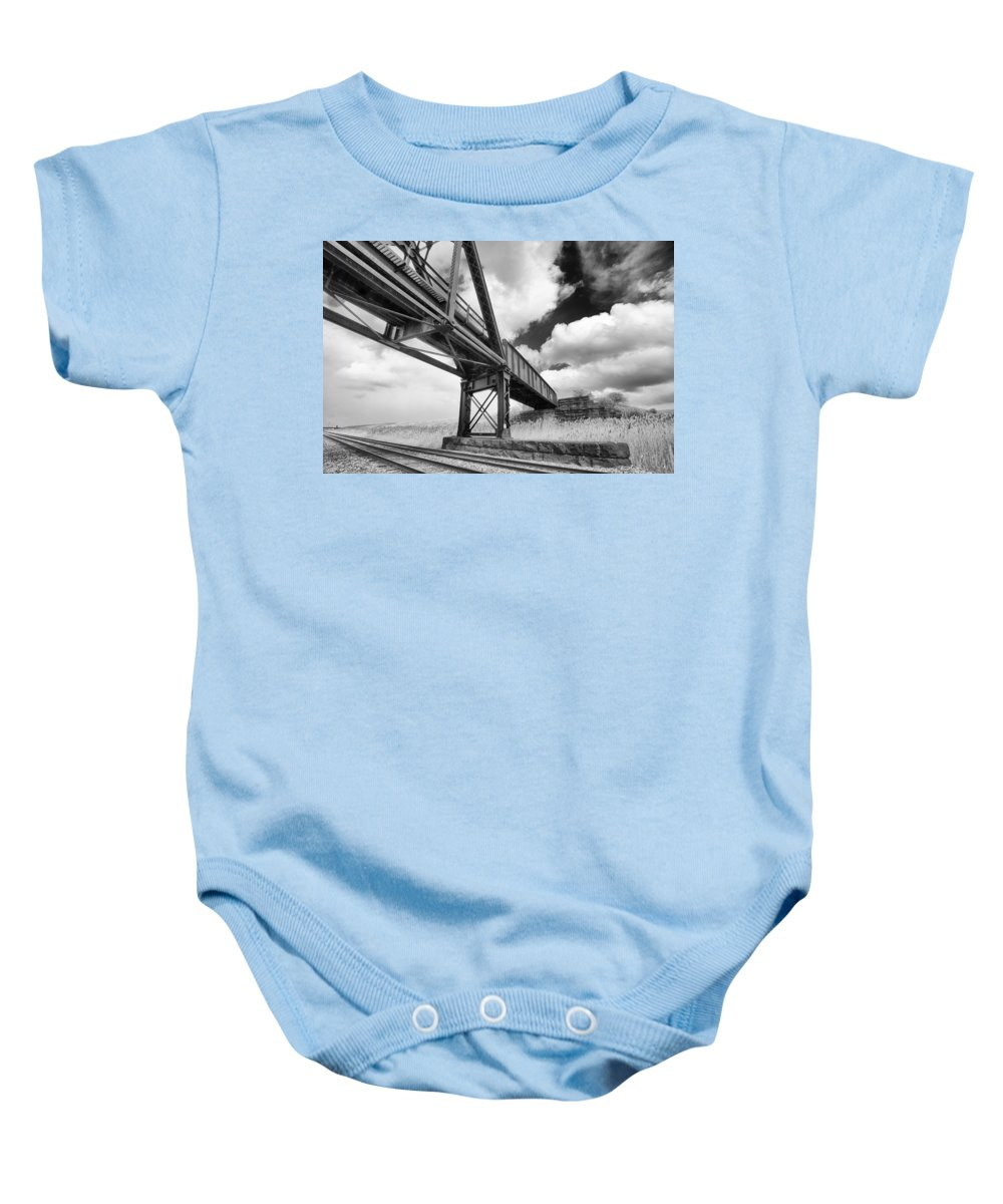 Bridges Baby Onesie featuring the photograph Iron Overhead by Guy Whiteley
